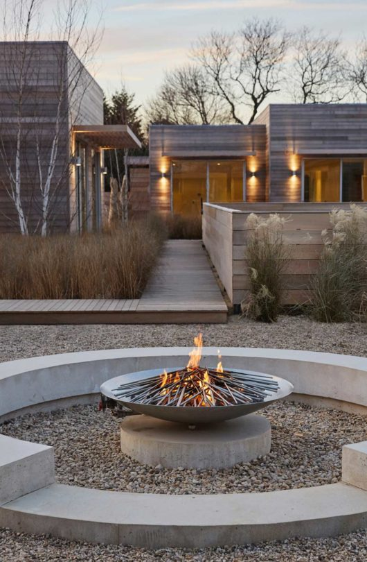 fire pit and buildings