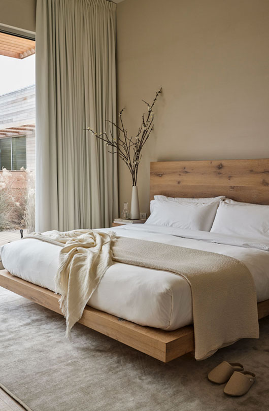bed with wood frame