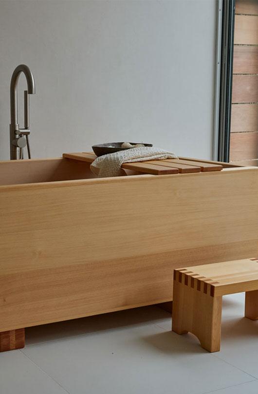 wooden soaking tub