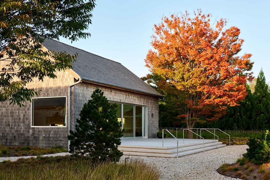 main barn with fall foliage