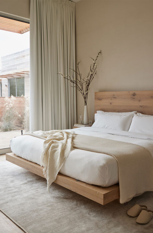 guest studio bed with wood frame